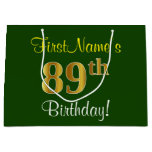 [ Thumbnail: Elegant, Green, Faux Gold 89th Birthday + Name Gift Bag ]