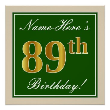 Art Themed Elegant, Green, Faux Gold 89th Birthday   Name Poster