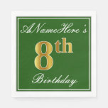 [ Thumbnail: Elegant Green, Faux Gold 8th Birthday; Custom Name Paper Napkin ]
