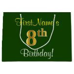 [ Thumbnail: Elegant, Green, Faux Gold 8th Birthday + Name Gift Bag ]