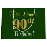 [ Thumbnail: Elegant, Green, Faux Gold 90th Birthday + Name Gift Bag ]