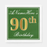 [ Thumbnail: Elegant Green, Faux Gold 90th Birthday + Name Paper Napkin ]