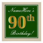 [ Thumbnail: Elegant, Green, Faux Gold 90th Birthday + Name Poster ]