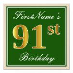 [ Thumbnail: Elegant, Green, Faux Gold 91st Birthday + Name Invitation ]