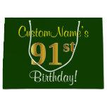 [ Thumbnail: Elegant, Green, Faux Gold 91st Birthday + Name Gift Bag ]