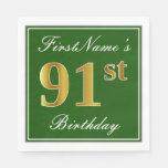 [ Thumbnail: Elegant Green, Faux Gold 91st Birthday + Name Paper Napkin ]