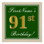 [ Thumbnail: Elegant, Green, Faux Gold 91st Birthday + Name Poster ]