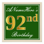 [ Thumbnail: Elegant, Green, Faux Gold 92nd Birthday + Name Invitation ]