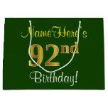 [ Thumbnail: Elegant, Green, Faux Gold 92nd Birthday + Name Gift Bag ]