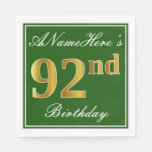 [ Thumbnail: Elegant Green, Faux Gold 92nd Birthday + Name Paper Napkin ]