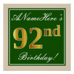 [ Thumbnail: Elegant, Green, Faux Gold 92nd Birthday + Name Poster ]