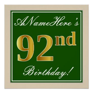 Art Themed Elegant, Green, Faux Gold 92nd Birthday   Name Poster