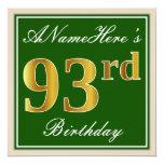 [ Thumbnail: Elegant, Green, Faux Gold 93rd Birthday + Name Invitation ]