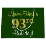 [ Thumbnail: Elegant, Green, Faux Gold 93rd Birthday + Name Gift Bag ]