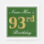 [ Thumbnail: Elegant Green, Faux Gold 93rd Birthday + Name Paper Napkin ]
