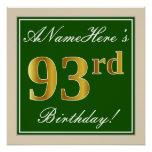 [ Thumbnail: Elegant, Green, Faux Gold 93rd Birthday + Name Poster ]