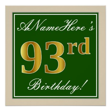 Art Themed Elegant, Green, Faux Gold 93rd Birthday   Name Poster