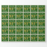 [ Thumbnail: Elegant, Green, Faux Gold 93rd Birthday + Name Wrapping Paper ]