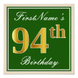 [ Thumbnail: Elegant, Green, Faux Gold 94th Birthday + Name Invitation ]