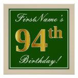 [ Thumbnail: Elegant, Green, Faux Gold 94th Birthday + Name Poster ]