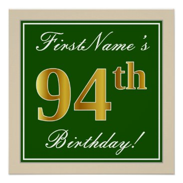 Art Themed Elegant, Green, Faux Gold 94th Birthday   Name Poster