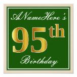 [ Thumbnail: Elegant, Green, Faux Gold 95th Birthday + Name Invitation ]