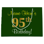 [ Thumbnail: Elegant, Green, Faux Gold 95th Birthday + Name Gift Bag ]
