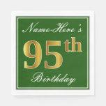 [ Thumbnail: Elegant Green, Faux Gold 95th Birthday + Name Napkin ]
