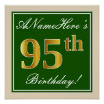 [ Thumbnail: Elegant, Green, Faux Gold 95th Birthday + Name Poster ]