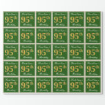 [ Thumbnail: Elegant, Green, Faux Gold 95th Birthday + Name Wrapping Paper ]