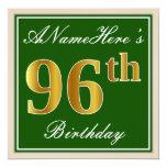[ Thumbnail: Elegant, Green, Faux Gold 96th Birthday + Name Invitation ]