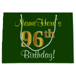 [ Thumbnail: Elegant, Green, Faux Gold 96th Birthday + Name Gift Bag ]