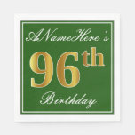 [ Thumbnail: Elegant Green, Faux Gold 96th Birthday + Name Napkin ]