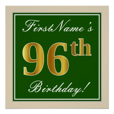 Art Themed Elegant, Green, Faux Gold 96th Birthday   Name Poster