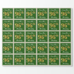 [ Thumbnail: Elegant, Green, Faux Gold 96th Birthday + Name Wrapping Paper ]