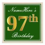 [ Thumbnail: Elegant, Green, Faux Gold 97th Birthday + Name Invitation ]
