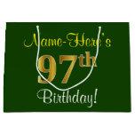 [ Thumbnail: Elegant, Green, Faux Gold 97th Birthday + Name Gift Bag ]