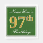 [ Thumbnail: Elegant Green, Faux Gold 97th Birthday + Name Napkin ]
