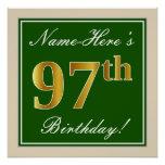 [ Thumbnail: Elegant, Green, Faux Gold 97th Birthday + Name Poster ]