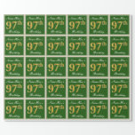 [ Thumbnail: Elegant, Green, Faux Gold 97th Birthday + Name Wrapping Paper ]