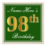 [ Thumbnail: Elegant, Green, Faux Gold 98th Birthday + Name Invitation ]