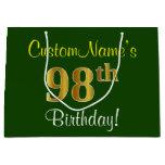 [ Thumbnail: Elegant, Green, Faux Gold 98th Birthday + Name Gift Bag ]