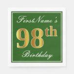 [ Thumbnail: Elegant Green, Faux Gold 98th Birthday + Name Napkin ]