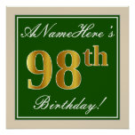 [ Thumbnail: Elegant, Green, Faux Gold 98th Birthday + Name Poster ]