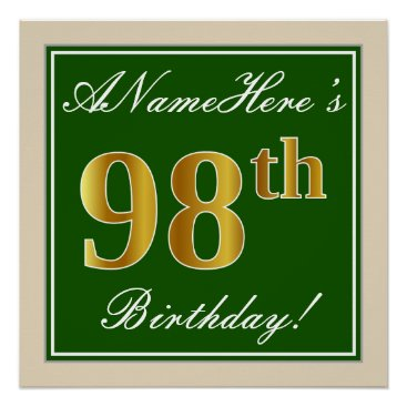 Art Themed Elegant, Green, Faux Gold 98th Birthday   Name Poster