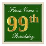 [ Thumbnail: Elegant, Green, Faux Gold 99th Birthday + Name Invitation ]