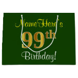 [ Thumbnail: Elegant, Green, Faux Gold 99th Birthday + Name Gift Bag ]