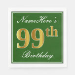 [ Thumbnail: Elegant Green, Faux Gold 99th Birthday + Name Paper Napkin ]