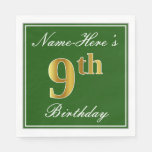 [ Thumbnail: Elegant Green, Faux Gold 9th Birthday; Custom Name Paper Napkin ]