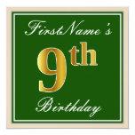[ Thumbnail: Elegant, Green, Faux Gold 9th Birthday + Name Invitation ]